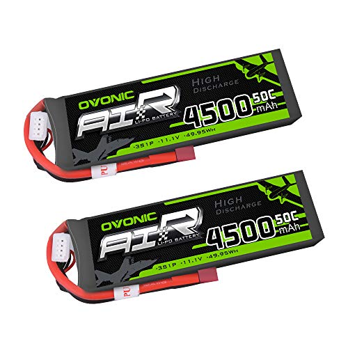 OVONIC 2 Packs 3S 11.1V 4500mAh 50C LiPo Battery Pack with T Plug for RC Evader BX Car, RC Truck, RC Truggy RC Airplane UAV Drone FPV