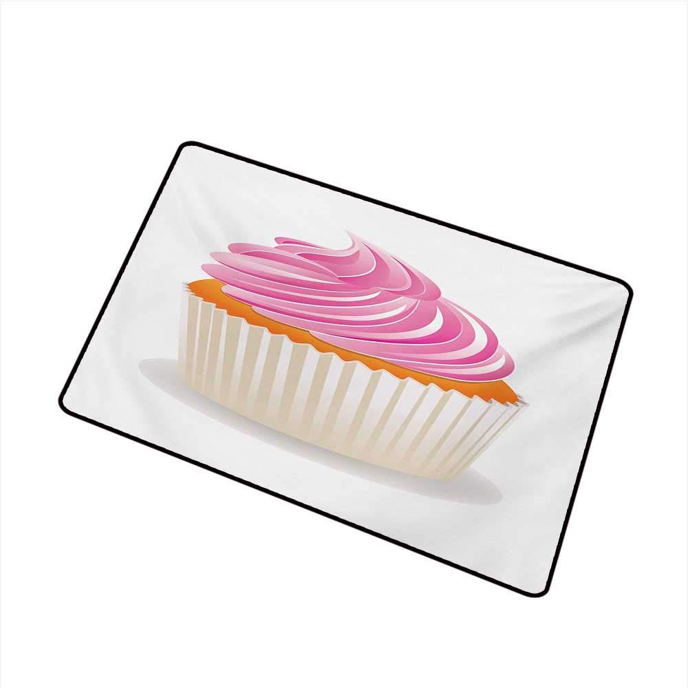 BeckyWCarr Orange and Pink Universal Door mat Illustration of a Pink Cupcake Celebration Delicious Dessert Baking Door mat Floor Decoration W31.5 x L47.2 Inch,Pink Orange Cream by BeckyWCarr