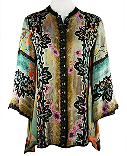 Citron Tunic - Citron Red Landscape Poppies, Asian Style Vintage Mandarin Collar Silk Tunic