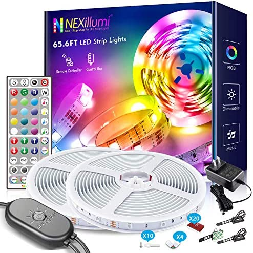 65.6 feet LED Strip Lights with Built-in Mic Ultra-Long LED Lights for Bedroom 600 LEDs Color Changing RGB LED Strips(65.6 feet 44 Keys Remote+ Mic Control)
