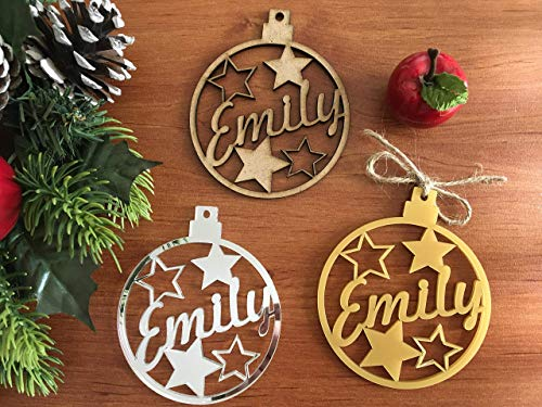 Ornament Personalized Name (Merry Christmas Personalized Wooden Name Bauble Custom Gifts for Family Kids Gold Mirror Wood Ornament Name Tree Decorations Xmas Bauble Laser Cut Stars Hanging Gift Tags Keepsake Happy New Year Decor)