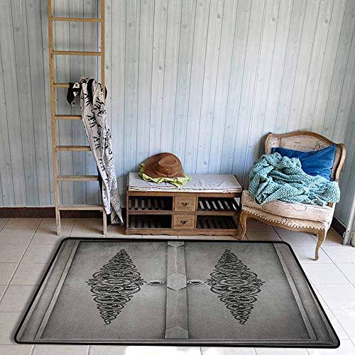 (Rectangular Rug,Antique Antique Door with Vertical Ornamental Floral Pattern Travel Treasure Monochromic,Ideal Gift for Children,3'11