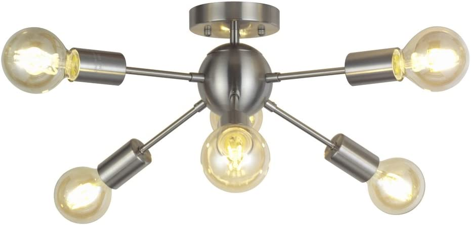 6 Light Sputnik Ceiling Light Brushed Nickel Modern Starburst Chandelier Lighting Mid Century Pendant Light by TUDOLIGHT