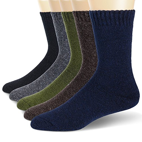 Mens Wool Socks Thermal Heavy Thick Winter Warm Fuzzy Cabin Socks For Cold Weather 5 Pack (Solid Color A) ()