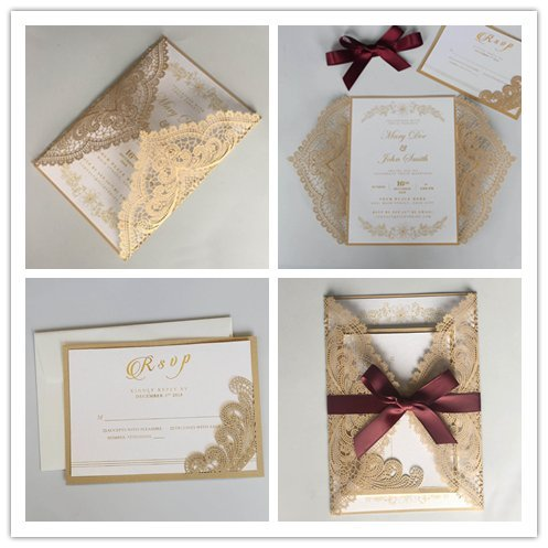 Picky Bride Golden Lace Wedding Invitations with Burgundy Ribbon Bow and RSVP Cards 5 x 7