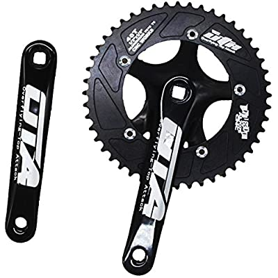 Single Speed Crankset Set 48T 170mm Crankarms 130 BCD CYSKY Fixie Crankset for Single Speed Bike, Fixed Gear Bicycle, Track Road Bike (Square Taper, Black)