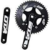 CYSKY Single Speed Crankset Set 48T 170mm Crankarms 130 BCD Fixie Crankset for Single Speed Bike, Fixed Gear Bicycle, Track Road Bike (Square Taper, Black)