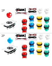 Hikig 2-Player LED DIY Arcade Kit for PC, MAME, Raspberry Pi 2X Zero Delay USB Encoder + 2X Arcade Joystick + 20x LED Arcade Buttons - Mixed Xbox 360 Controller Color Version
