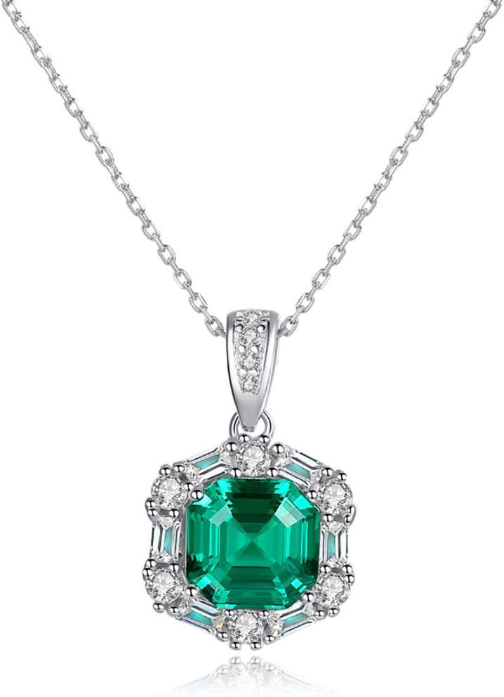 Collar de gema verde para mujer 3.3ct Collar de halo de esmeralda nano rusa simulado Collar de plata de ley 925 maciza de 18 pulgadas-green-One size