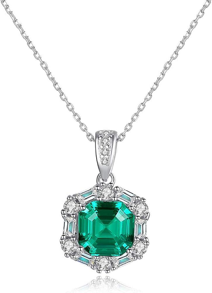 Collar con colgante de esmeralda rusa de 3,3 quilates de plata de ley 925 maciza, 45,7 cm