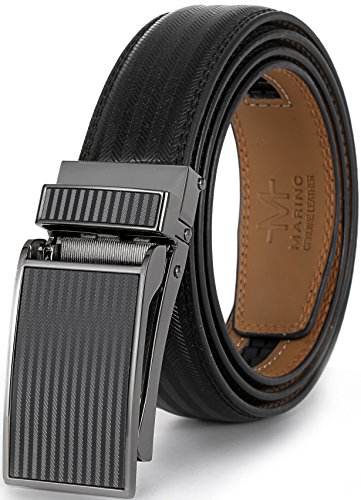 Genuine Buckle Belt Black (Marino Avenue Men's Genuine Leather Ratchet Dress Belt with Linxx Buckle, Enclosed in an Elegant Gift Box - Black - Style 139 - Adjustable from 28