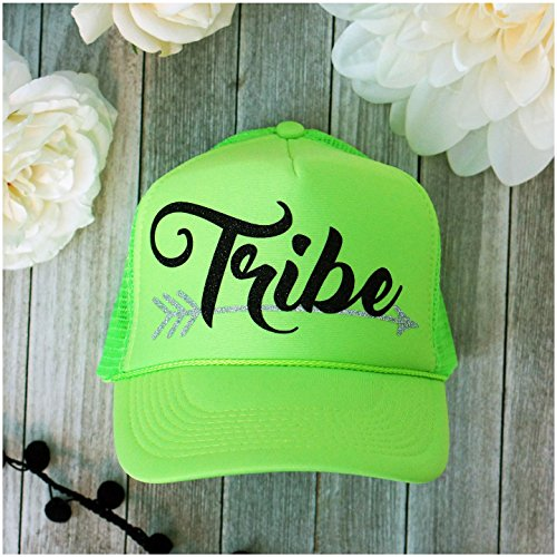 Neon Bachelorette Party Bride Tribe Mesh Trucker Snap Back Hat (Solid Neon Green, Black Tribe), One Size ()