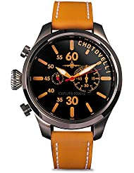 Chotovelli Aviator Pilot Mens Watch Chronograph display Camel leather Strap 52.12