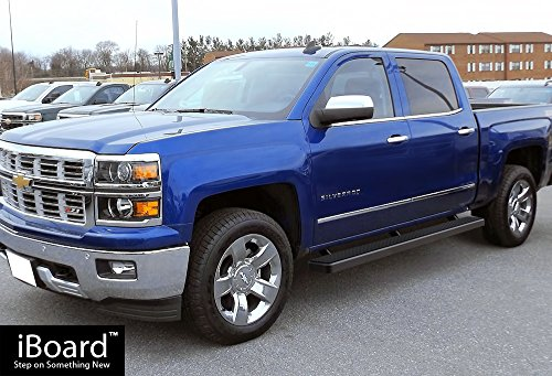 iboard running boards 5 black custom fit 2007 2017 chevy silverado gmc sierra crew cab nerf. Black Bedroom Furniture Sets. Home Design Ideas