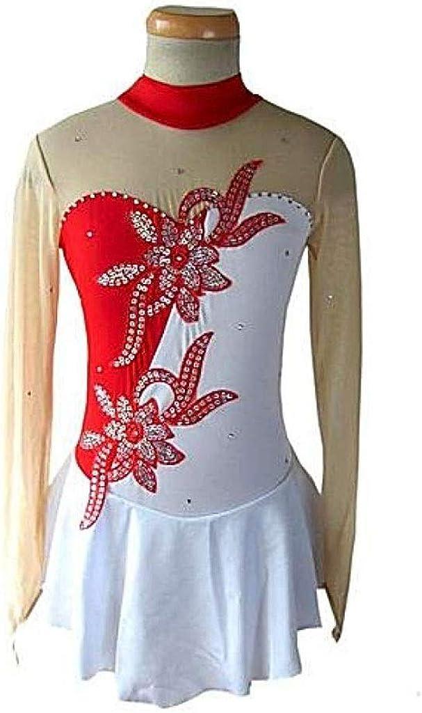 フィギュアスケートドレス、女性の女の子の赤いスパンデックスレース非弾性トレーニング大会スケートウェア単色長袖アイススケート レッド M