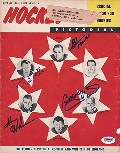 Bobby Hull, Ken Wharram, Glenn Hall & Pierre Pilote Autographed Hockey Pictorial Magazine Cover #T19814 PSA/DNA Certified