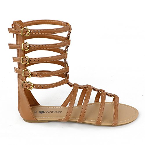 Chatties Kvinners Spenne Gladiator Sandal Brun Spenner ...