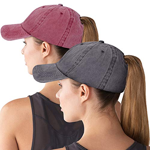 Maroon Womens Hat - Ponytail Cap Glitter Messy High Bun Baseball Hat Sun Washed Cotton Adjustable Trucker Hat for Girl Women 2pack-Wine Red&Grey