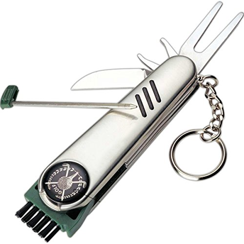 Outdoor Cutlery Stainless Steel 7-in-1 Multi-Function Golf Tool, Golf Ball & Club Cleaner, Cleat Tightener, Divot Repair
