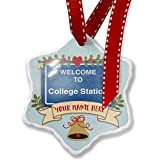 Add Your Own Custom Name, Sign Welcome To College Station Christmas Ornament NEONBLOND