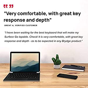 Brydge 10.5 Go+ Wireless Keyboard with Precision Touchpad | Compatible with Microsoft Surface Go 1 & 2 | Designed for Surface | (Silver) (Color: Silver)