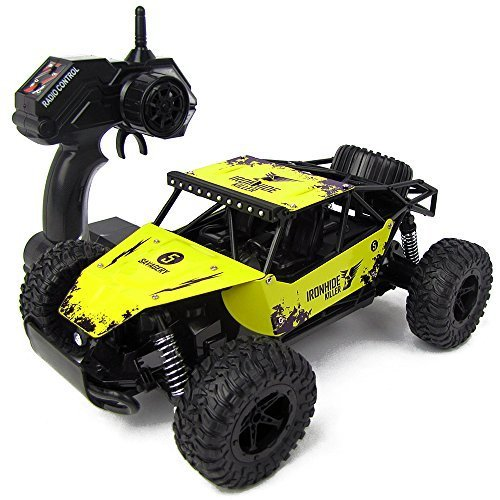 KingPow 2WD Rc Car 2.4GHz Radio Remote Control Truck 1:16 Electric Rock Crawler Control Cars Off Road High Speed 25KM/h-Yellow
