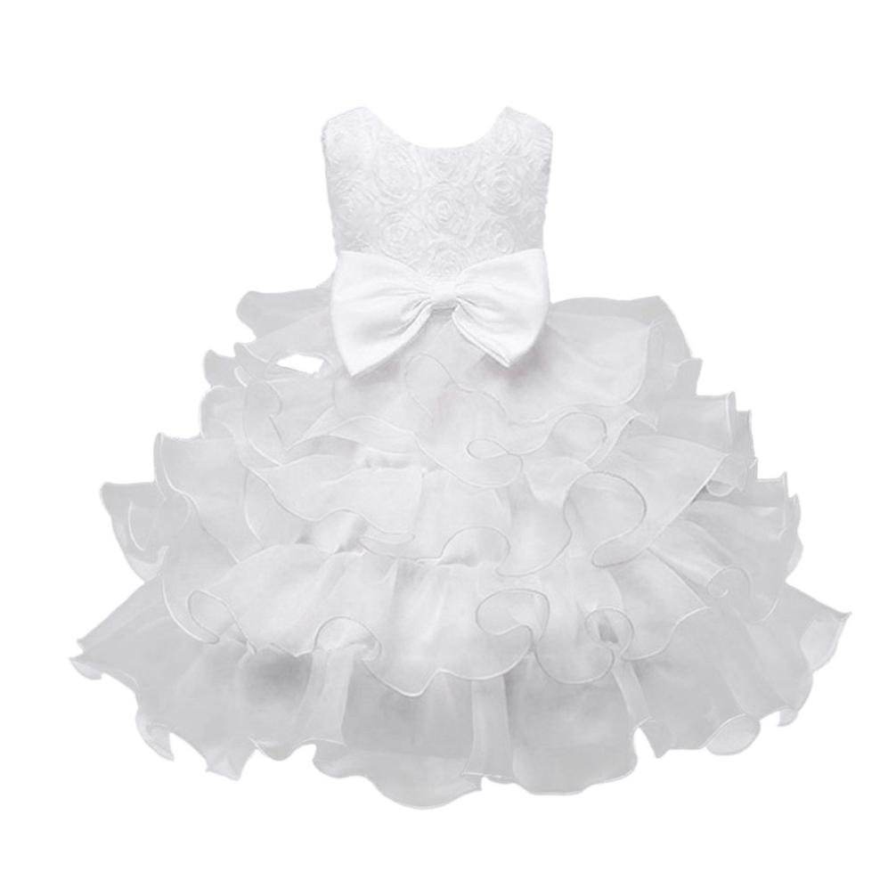 FEITONG Little and Bigger Girls Flower Birthday Wedding Princess Dress Christmas Dress (3Year, White) by FEITONG (Image #1)