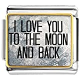 italian bracelet charms - LuckyJewelry I Love You To The Moon And Back Nomination Etched Italian Charm Sale fit Bracelet Link