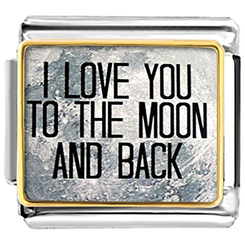LuckyJewelry I Love You To The Moon And Back Nomination Etched Italian Charm Sale fit Bracelet (Love 9mm Italian Charm Bracelet)