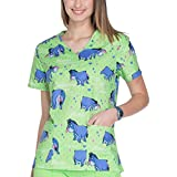 ScrubStar Disney Womens Lime Green Eeyore Notice Me Cotton V-Neck Medical Scrub Top (XSmall)