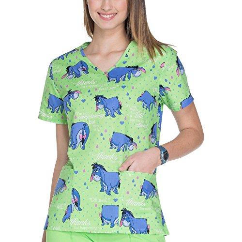 100% Cotton Scrub Top (ScrubStar Disney Womens Lime Green Eeyore Notice Me Cotton V-Neck Medical Scrub Top (Medium))