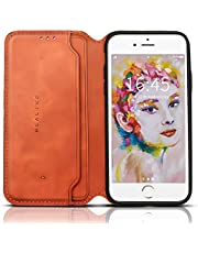 REALIKE iPhone 7 case iPhone 8 case leather Folio Flip Book Wallet Case with Slots Holder Pocket Magnetic Closure Shockproof Bumper Protection Case for Men and Women