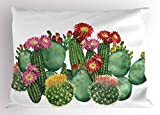 Cactus Decor Pillow Sham by Ambesonne, Saguaro Barrel Hedge Hog Prickly Pear Opuntia Tropical Botany Garden Plants, Decorative Standard Size Printed Pillowcase, 26 X 20 Inches, Multicolor