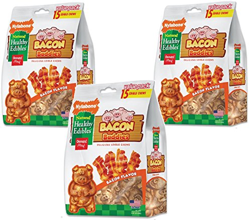 - Nylabone Healthy Edibles Bacon Buddies Value 3 Shapes 15pk
