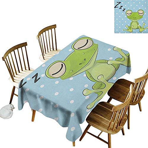 Party Rectangular Tablecloth W52 x L70 Cartoon Sleeping Prince Frog in a Cap Polka Dots Background Cute Animal World Kids Design Green Blue Great for Traveling More
