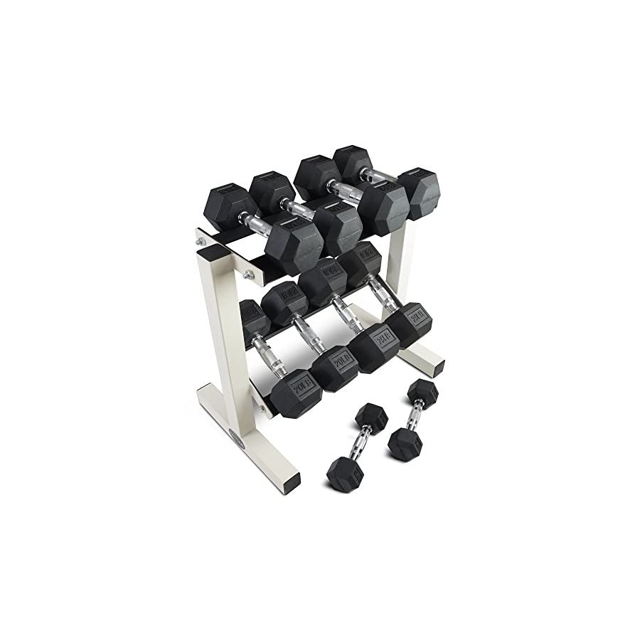 Rubber Coated Hex Dumbbell Weights Training Set w/ Rack 5 25 lb Titan Fitness