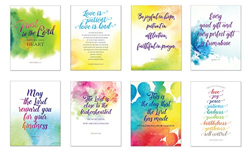 All-Occasion Simple Scripture Greeting Cards w/Envelopes (8 Inspirational Bible Verse Blank Note Cards - Birthday, Thank You, Sympathy, Thinking of you