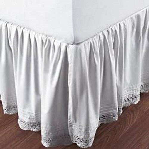 Be-you-tiful Home Bella Crochet Bed Skirt, Queen, White
