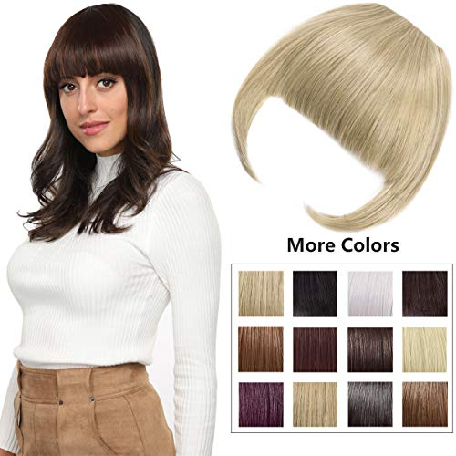 Clip in Bangs Fringe Hair Extensions with Temples Fashion Hair-pieces Ash Blonde Mix Bleach Blonde (Human Clip On Bangs)