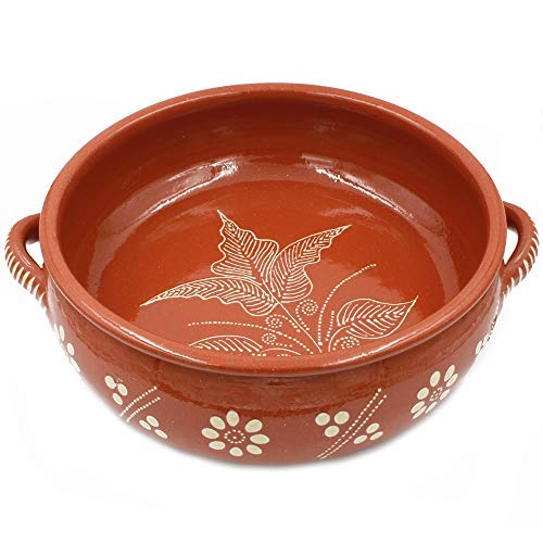(Traditional Portuguese Hand-painted Vintage Clay Cazuela Terracotta Cooking Pot (N.6 13.75