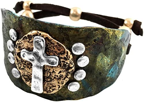 Western Peak Western Hammered Plate Cross Leather Cuff Bracelet