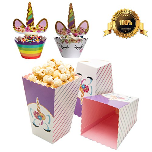 (MUSTFIT Unicorn Birthday Party Supplies Set - 48 Pcs Unicorn Cupcake Toppers and Wrappers, 12 Unicorn Popcorn Boxes, Cupcake Picks Cake Decorations, Unicorn Birthday Cupcake Decorations )