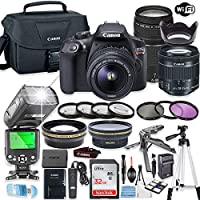 Canon EOS Rebel T6 Camera w/Canon EF-S 18-55mm is II Lens & EF 75-300mm f/4-5.6 III Lens + 32GB Sandisk Memory + Canon Case + TTL Speedlight Flash (Good Up-to 180 Feet) + Accessory Bundle