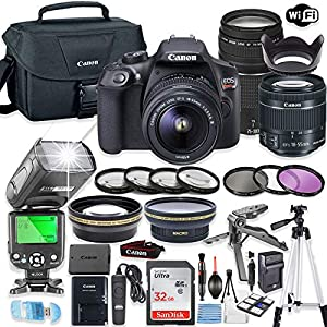 Canon EOS Rebel T6 DSLR Camera Bundle w/Canon EF-S 18-55mm is II Lens & EF 75-300mm f/4-5.6 III Lens + 32GB Sandisk Memory + Canon Case + TTL Speedlight Flash (Good Upto 180 Ft) + Accessory Bundl