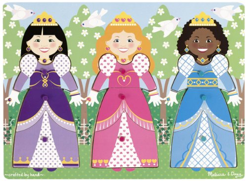 Mix Match Peg Puzzle - Melissa & Doug Princesses Dress-Up Wooden Peg Puzzle (9 pcs)