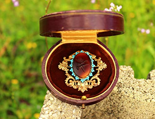 (Ornate gold plated flying goose couple glass west germany cameo beaded with turquoise color beads around BROOCH by Inga Engele made in USA 46mm x)