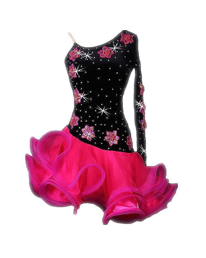 0931232ac Amazon.com: SIQIAN Adult/Child One-Shoulder Latin Rumba Chacha Jive Samba Party  Dance Evening Modern Dress: Clothing