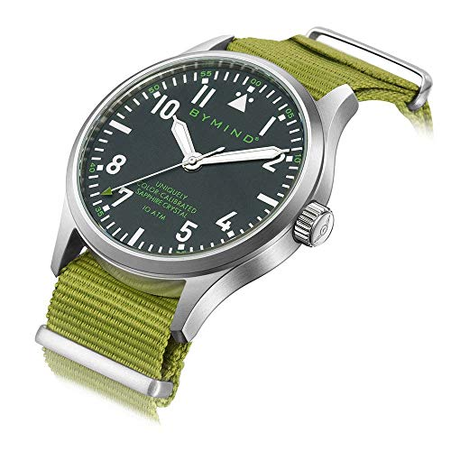 Men's Stainless Steel Quartz Watch with Sapphire 100 Meters Water Resistant (Army Green Nylon NATO Strap)