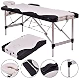 K&A Company Massage Table With Case Carry Portable Bed Facial Spa Tattoo Fold Aluminum White 72''L