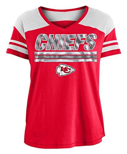New Era Kansas City Chiefs Women's NFL Field Goal V-Neck Short Sleeve Shirt (Goal Field Nfl)